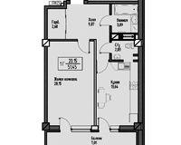 1-комнатная квартира 58.46 кв. м.
