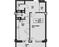 1-комнатная квартира 57.43 кв. м.