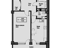 1-комнатная квартира 54.87 кв. м.
