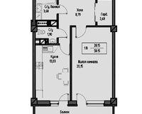 1-комнатная квартира 53.66 кв. м.