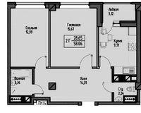 2-комнатная квартира 61.18 кв. м.