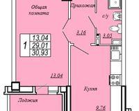 1-комнатная квартира 30.93 кв. м.
