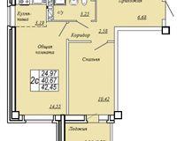 2-комнатная квартира 42.45 кв. м.
