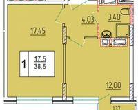 1-комнатная квартира 38.5 кв. м.