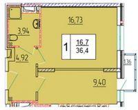 1-комнатная квартира 36.4 кв. м.