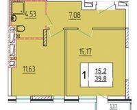 1-комнатная квартира 39.8 кв. м.
