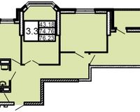 3-комнатная квартира 76.23 кв. м.