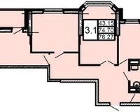 3-комнатная квартира 76.26 кв. м.