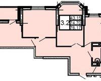 3-комнатная квартира 76.17 кв. м.