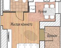 1-комная квартира 23.84 кв. м.
