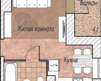 1-комная квартира 24.5 кв. м.