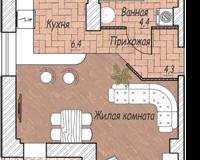 1-комная квартира 37.5 кв. м.