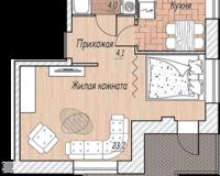 1-комная квартира 41.8 кв. м.