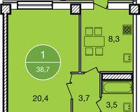 1-комнатная квартира 38.7 кв. м.