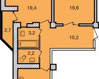 2-комнатная квартира 69.6 кв. м.