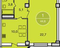 1-комнатная квартира 44.6 кв. м.