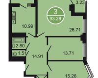 3-комнатная квартира 93.28 кв. м.