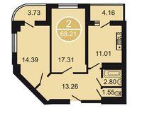 2-комнатная квартира 68.21 кв. м.