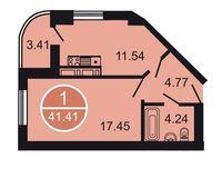 1-комнатная квартира 41.41 кв. м.
