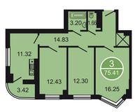 3-комнатная квартира 75.41 кв. м.