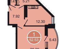 1-комнатная квартира 52.53 кв. м.