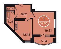 1-комнатная квартира 52.95 кв. м.