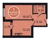 1-комнатная квартира 43.41 кв. м.