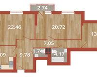 3-комнатная квартира 103.06 кв. м.