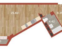 1-комнатная квартира 40.49 кв. м.