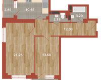 2-комнатная квартира 68.03 кв. м.