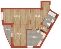 2-комнатная квартира 80.63 кв. м.