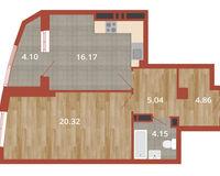 1-комнатная квартира 54.64 кв. м.