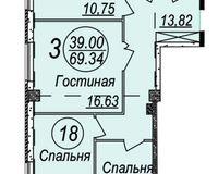 3-комнатная квартира 69.34 кв. м.