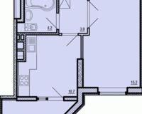 1-комнатная квартира 38.95 кв. м.