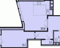 2-комнатная квартира 54.38 кв. м.