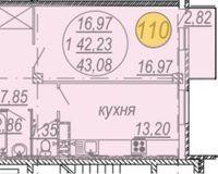 1-комнатная квартира 43.08 кв. м.