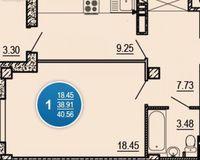 1-комнатная квартира 40.59 кв. м.