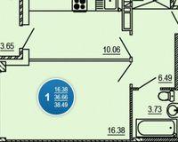 1-комнатная квартира 38.49 кв. м.