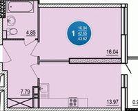 1-комнатная квартира 42.65 кв. м.