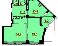 2-комнатная квартира 72.2 кв. м.