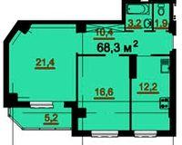 2-комнатная квартира 68.3 кв. м.