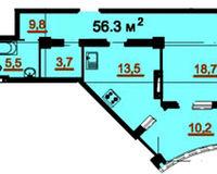 1-комнатная квартира 56.3 кв. м.