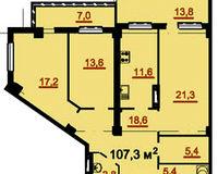 3-комнатная квартира 107.3 кв. м.