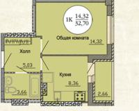 1 комнатная квартира  32.7 кв. м