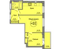 2 комнатная квартира  44.1 кв. м