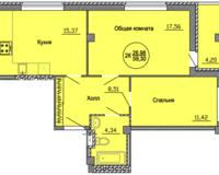 2 комнатная квартира  59.3 кв. м