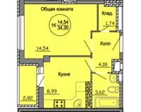 1 комнатная квартира  34.3 кв. м