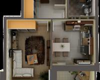 1 комнатная квартира 34 кв. м.
