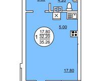 1 комнатная квартира 35.26 кв. м.