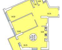 3 комнатная квартира 85.59 кв. м.